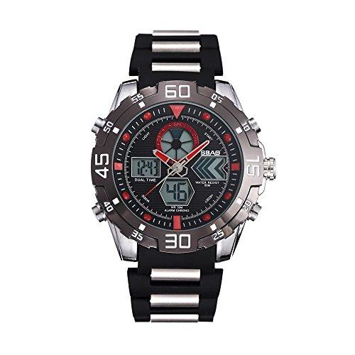 HWCOO SBAO Orologi Orologio doppio orologio da polso da uomo con doppio quadrante in acciaio impermeabile con doppio fuso orario (Color : 8)