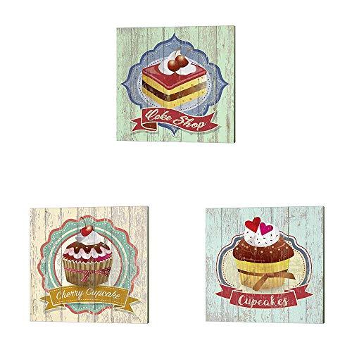 Cake Shop, Cherry Cupcake & Cupcakes by Skip Teller, 3 Piece Canvas Art Set, 14 X 14 Inches Each, Kitchen Art