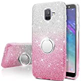 Galaxy A8 2018 Case,Silverback Girls Bling Glitter Sparkle Cute Phone Case with 360 Rotating Ring Stand, Soft TPU Outer Cover + Hard PC Inner Shell Skin for Samsung Galaxy A8 2018 -Pink