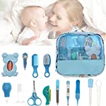 WAYDA Baby Grooming and Healthcare Kit, 13 in 1 Baby Care Products, Baby Stuff Shower Gifts for Newborn, Fahrenheit Thermometer, Nail Clippers Trimmer Set, Comb Brush, Nursery Care Kit (Blue)