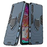 Funda Samsung A70,Sopatree Compatible para Samsung Galaxy A70 Carcasa Silicona PC Metálico Montaje Anillo Agarre Soporte Antichoque Caja Protector,Azul