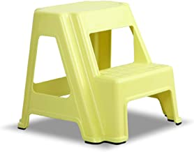 TheJD Dual Height Step Stack Stool Yellow - Versatile Two-Step Design for Growing Children or Adult   Non-Slip Feet   350 Pound Capacity