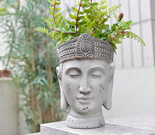 Newman House Studio Buddha-Statue Head-Planters - Face Flower-Pot Succulents Herb Plants-Pot for Indoor Outdoor Home Garden Decor 6.7L x 6.5W x 9.1H inch