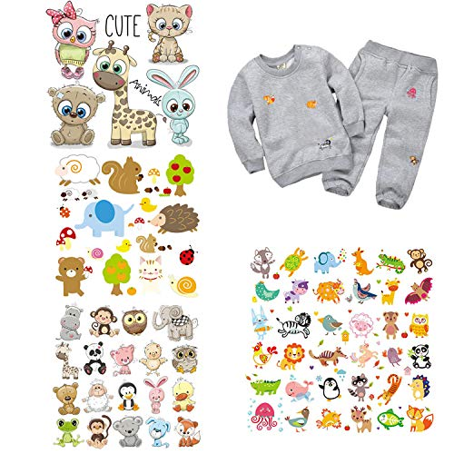 Kids Iron on Transfers Patches Cute Heat Transfer Stickers 4 Sheets Iron on Appliques Animal Decal for Kids Babies Owl Deer Bear Cat Cartoons Design Jacket Jeans Shirts Clothes DIY Art Decorations
