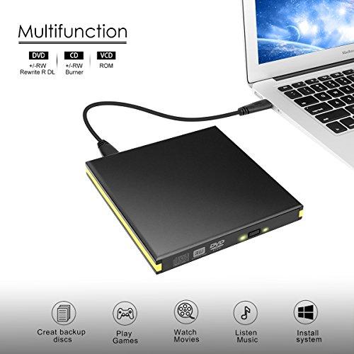 BEVA USB 3.0 Externes DVD Laufwerk, Portable CD Brenner CD Player CD Lesegerät für Laptop Desktop MacBook Mac OS Windows 10 8 7 XP Vista
