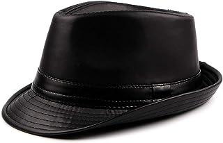 UTALY PU Leather Trilby Fedoras Panama Jazz-Hat Short Brim Bowler Hat
