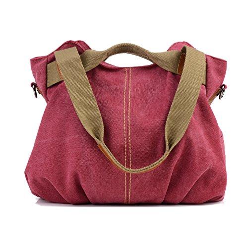 LOSMILE mujer lona Bolso de mano Bolso de bandolera Bolsa de hombro Bolsa de cuerpo cruzada Bolso de mano Bolsa de ocio (Rojo)
