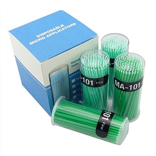 400 Pcs Dental Disposable Micro Applicator Brush Bendable Fine Green Dia1.2 Mm
