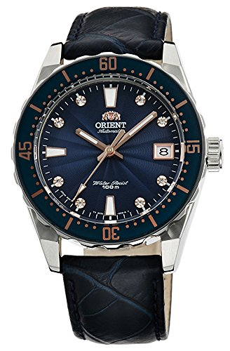 ORIENT Reloj automático deportivo 100M superior para señoras azul esfera Guilloche FAC0A004D
