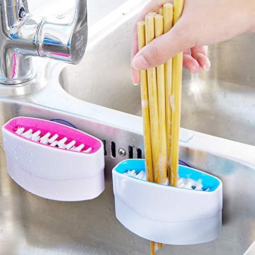 HIUGHJ Haushaltsreinigung Küchengeschirr Saubere Bürste mit Saugnapf Messer und Gabel Essstäbchen Kreative Reinigungsbürste Besteckreiniger