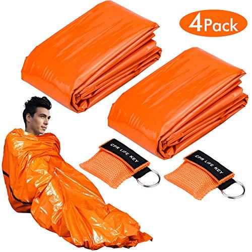 WEKON Premium Rettungsdecke Notfalldecke Notfall-Zelt Biwaksack Survival Schlafsack für Erste Hilfe, Notfall Outdoor Tube Zelt mit Ultraleicht hitzeabweisend Kälteschutz (mit 2 CPR Maske)