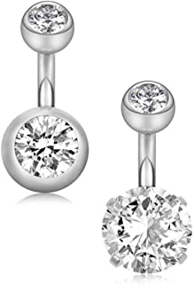 YHMM 14G 6mm Short Bar, 10mm Normal Bar Stainless Steel Belly Button Rings Round Cubic Zirconia Navel Barbell Stud Body Piercing
