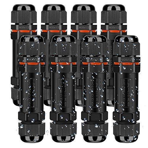 Kabelverbinder Wasserdicht IP68, Verbindungsmuffe Erdkabel Verbindungsbox 3-polig für Ø1-13 mm Kabeldurchmesser, Verteilerdose Abzweigdose Außen Wasserdicht, 8 Stück Schwarz