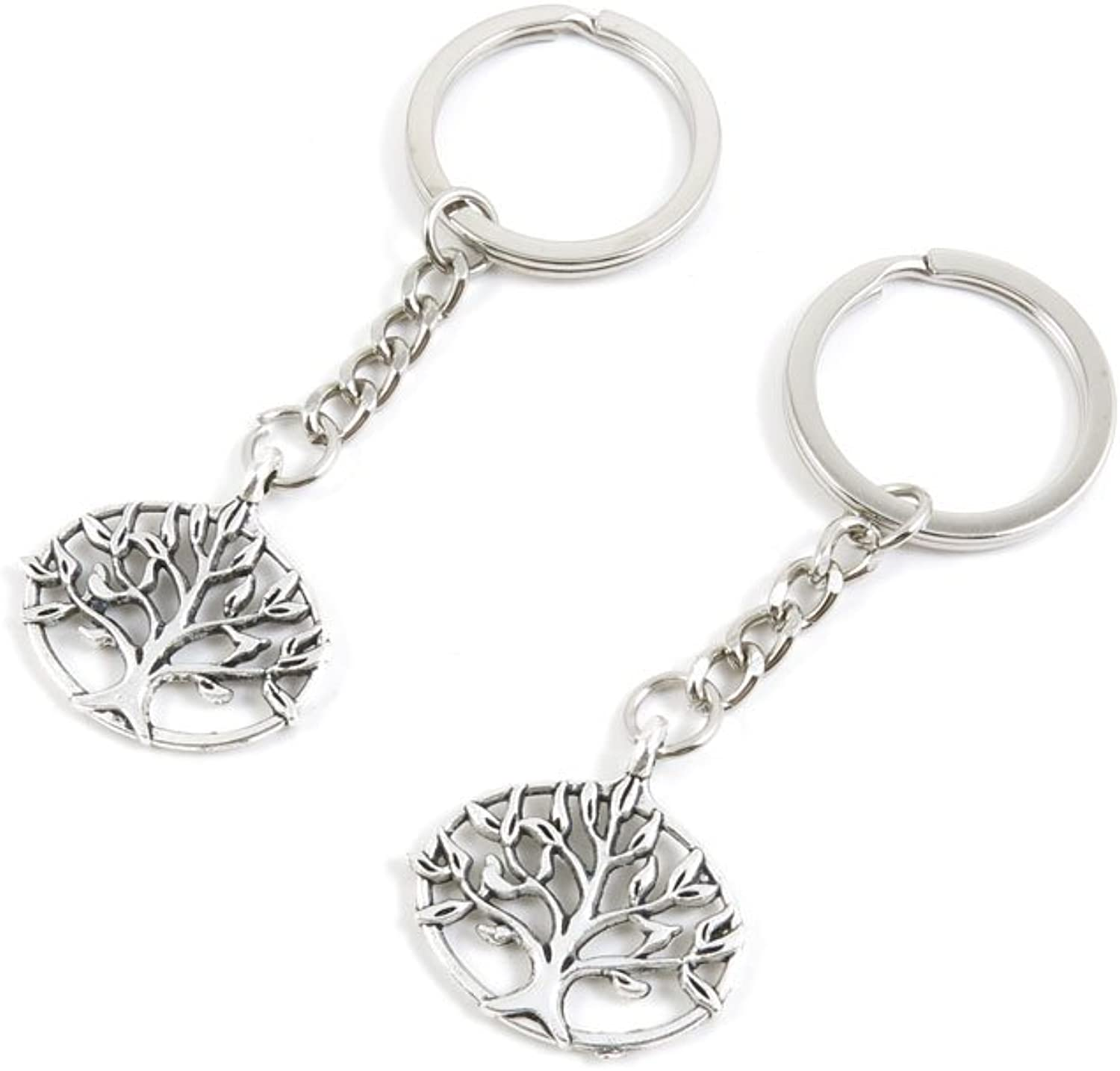 100 Pieces Keychain Keyring Door Car Key Chain Ring Tag Charms Bulk Supply Jewelry Making Clasp Findings H2WJ9I Life String Tree Oak