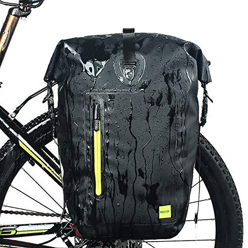 WRJ Bicycle Bag Waterproof Bicycle Bag Saddle Bag for Bike Rack Bag Laptop Porter Pannier,Black