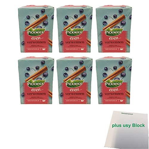 Pickwick even... Verwennen Schwarzer Tee mit Blaubeere & Zimt 6er Pack (6x 15x1,5g Teebeutel) + usy Block