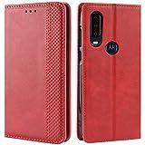 HualuBro Handyhülle für Motorola One Action Hülle, Retro Leder Brieftasche Tasche Schutzhülle Handytasche LederHülle Flip Hülle Cover für Motorola Moto One Action - Rot