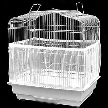 Accessoire de Cage à Oiseaux Lavable en Machine Aéré Maille Filet Tissu Couverture Capteur de Graines Garde Capteur de Graines pour Sages Ronds