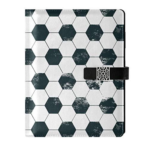 Cuaderno de cuero para diario, cuaderno de viaje, fútbol, papel de relleno, tamaño A5, encuadernador de anillas – tapa dura, regalo para mujeres y hombres
