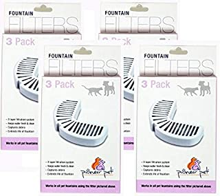 Pioneer Pet 4 Pack of Replacement Filters for Ceramic and Stainless Steel Fountains, 3 Filters Per Pack