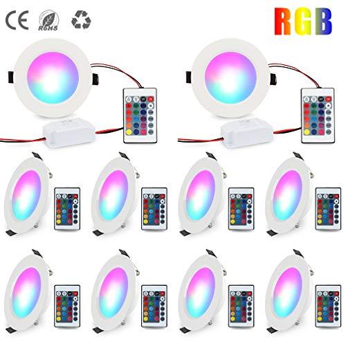 LED Einbaustrahler 10W RGB Dimmbar LED Einbauleuchten 230V Deckenspots Ultra flach Farbwechsel Deckenleuchte 16 Farben Rund Panel Lampe mit Fernbedienung für Flur, Wohnzimmer, Schlafzimmer (10 Stück)