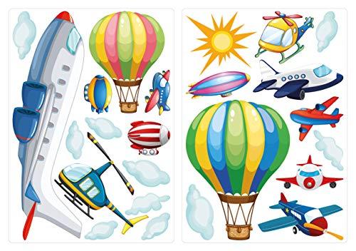 dekodino® Wandtattoo Flugzeuge mit Heißluftballons und Wolken Wandsticker Set