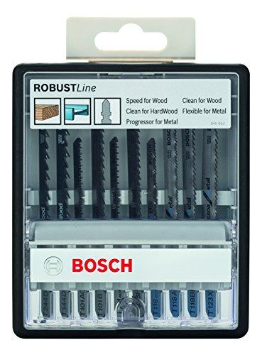 Bosch Professional 10tlg. Stichsägeblatt-Set Robust Line (Wood und Metal zum Sägen in Holz und Metall, Zubehör Stichsäge)