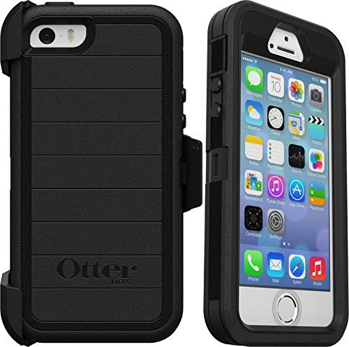 OtterBox Defender Series Rugged Case & Belt Clip Holster for iPhone SE (1st Gen - 2016 ONLY), iPhone 5S, iPhone 5 - Non-Retail Packaging - Black - with Microbial Defense