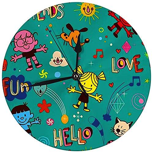 Decoratieve wandklok Big 9,8 inch Happy Kids huisdieren vrienden plezier digitaal rond klok