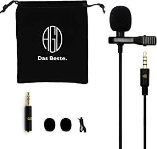 AGD Professional External Lavalier Lapel Microphone Clip-on Omnidirectional Condenser Lav Mini Mic Compatible with iPhone iPad Android DSLR Zoom PC Laptop PS4 Youtube Facebook Vlog Podcast Interview