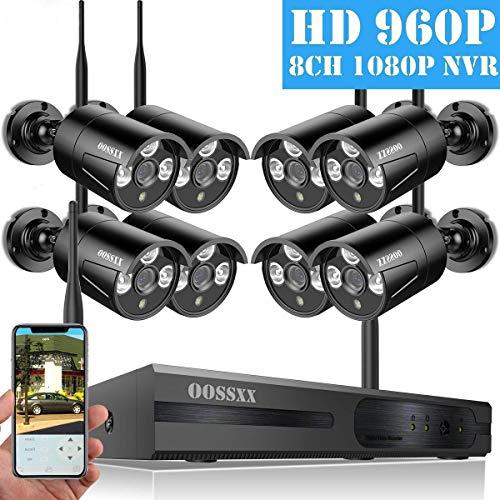 OOSSXX Drahtloses Überwachungskamerasystem NVR 8CH mit Nachtsicht IP67 720P, IP-Außenkameras mit Festplatte Schwarz 1080P 8-Kanal-System + 960P 8ch + No HDD 150 Watt