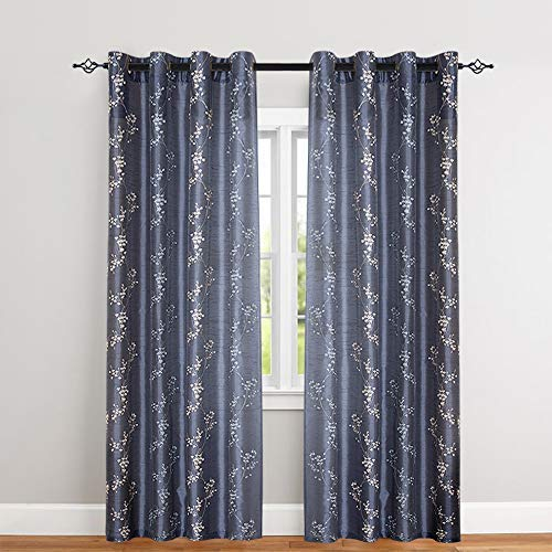 """jinchan Faux Silk Floral Embroidered Sheer Curtains for Bedroom Embroidery Curtain for Living Room, 2 Panels, 95"""" Slate Blue"""