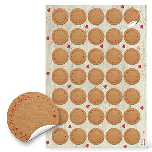 Logbuch-Verlag 35 pequeñas pegatinas para escribir en aspecto de papel de estraza marrón rojo con corazones, pegatinas para nombre, pegatinas para regalo, decoración de boda