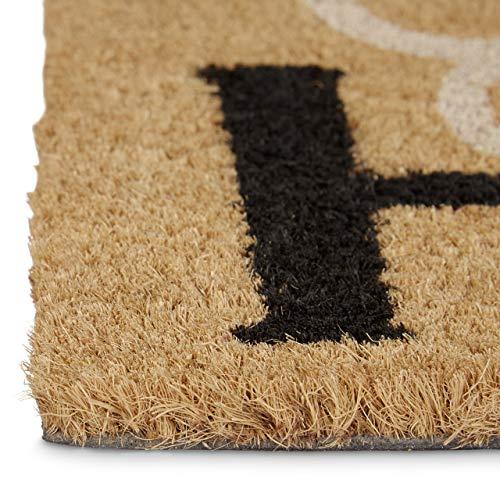 Relaxdays–10020170Felpudo Coco con Texto en inglés Home Sweet Home HELLERMANN Felpudo con Base Antideslizante de PVC, plástico, Natural/marrón, 45x 75x 1.5cm