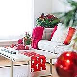 CINMOK Weihnachten Tischläufer Rot Tischdecke Rentier Tisch Läufer Weihnachts Tischband Winter Mitteldecke Weihnachtstischdecken Xmas Tischtuch für Esstisch Weihnachtsessen Kommunion Tischdeko - 2