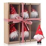 EKKONG Decoraciones Navideñas GNOME, 6 Colgantes de Árbol de Navidad, Adornos Navideños Sin Rostro, Muñecos de Peluche, Lindos Muñecos Navideños en Cajas de Regalo, Adornos Navideños Creativos (B)