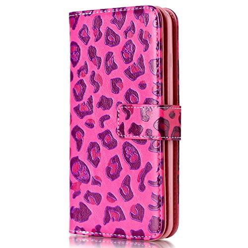 Surakey Cover Samsung Galaxy Grand Neo Plus i9060, Flip Libro Custodia Magnetica Portafoglio Wallet Case con 9 Tasche per Carte Funzione Stand Protettiva Cover per Galaxy Grand Neo Plus,Leopardo Rosso