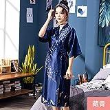 Handaxian Pijamas de Seda para Damas Primavera y Verano Dama de Honor Larga Novia roja Vestidos de mañana Bata de casa
