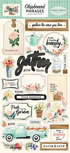 Carta Bella Paper Company CBMK96022 Flower Market - Tablero de aglomerado (6 x 13 frases), color verde azulado, rosa, bronceado, verde, crema