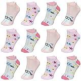 LOREZA ® 12 Paar Kinder Mädchen Baumwolle Socken Kindersocken Sneaker (33-36, Modell 4)
