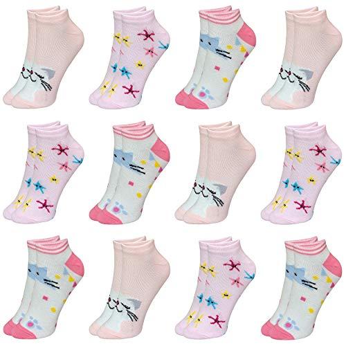 LOREZA ® 12 Paar Kinder Mädchen Baumwolle Socken Kindersocken Sneaker (29-32, Modell 4)