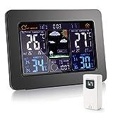 YISUN Estación meteorológica, pantalla digital a color, estación meteorológica con sensor exterior, monitor de humedad de temperatura, reloj despertador, barómetro, temperatura interior y exterior