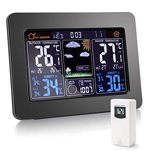 YISUN 2O21 Wetterstation mit Außensensor,Digitales Farbdisplay Multifunktionale wetterstation Thermometer Hygrometer,Trenddiagramm zur Temperaturänderung,Wettervorhersage-Piktogramm(Schwarz)