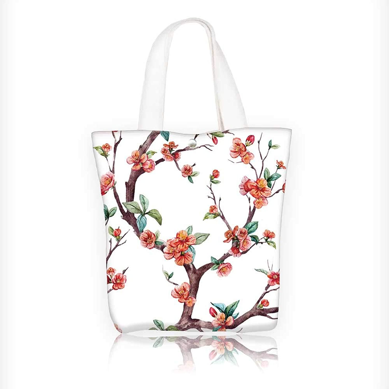 Women's Canvas Tote Handbags Flower Trees smflowers Tree Peach Apricot Casual Top Handle Bag Crossbody Shoulder Bag Purse W11xH11xD3 INCH