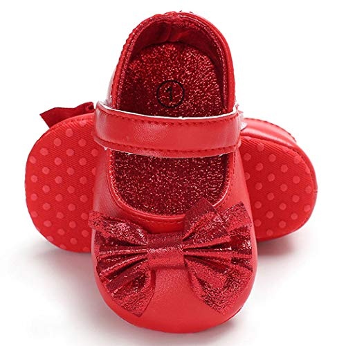 BENHERO Baby Infant Girls Soft Sole Floral Princess Mary Jane Shoes Prewalker Wedding Dress Shoes (0-6 Months Infant), F-Red+Headband