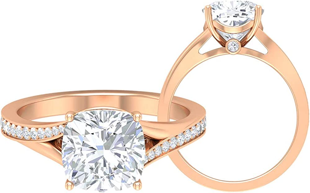 2.75 Cushion Cut Moissanite Split Max 89% OFF Acc Engagement with Ring Shank New color