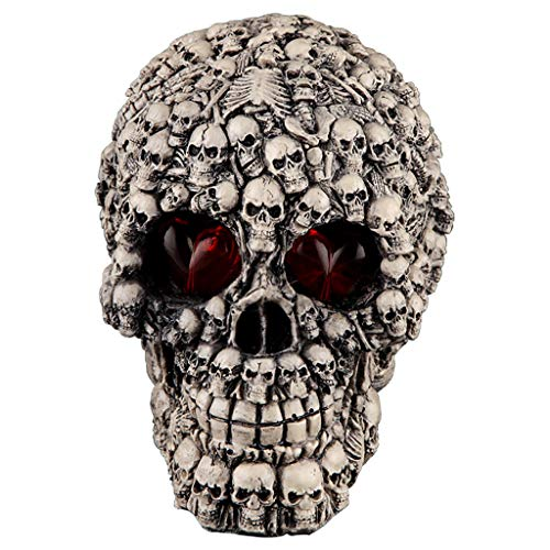 Fan-Ling Halloween Skull Model,Halloween Decorations Resin Wacky Funny Novelty Skull Toys,Fake Skull Party Prop,Halloween Decoration Toy Funny Spoof Light LED Eye Ghost Scary Terror Skull Prop (C)