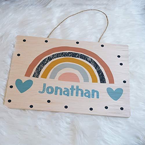 Türschild für Kinderzimmer, Kinderzimmerschild, Namensschild aus Holz personalisiert mit Name