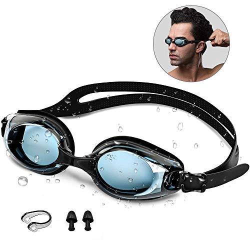 synmixx Gafas Natación Antiniebla Gafas de Natación Protección UV Sin Fugas Ajustable Gafas Nadar para Hombres y Mujeres Adultos con Clip de Nariz Enchufe de Oído, Estuche de EVA