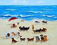 数字キットでペイントダックスフント犬DIY油絵描画キャンバスブラシ装飾ギフト